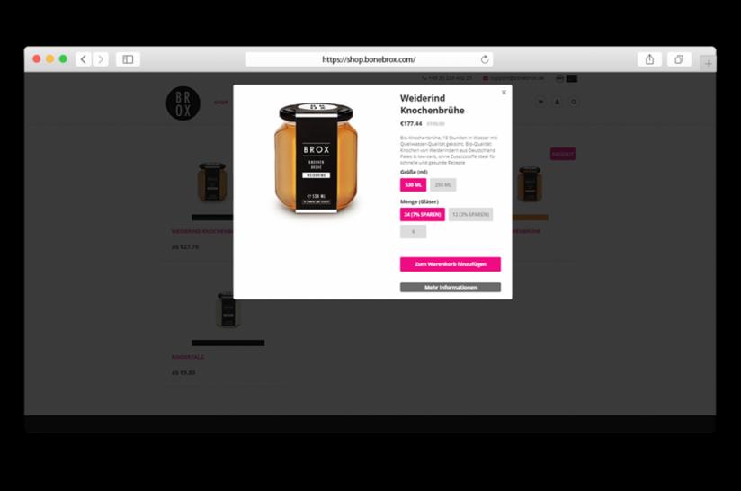 Schnellansicht des Produkts mit klarem Call-to-Action