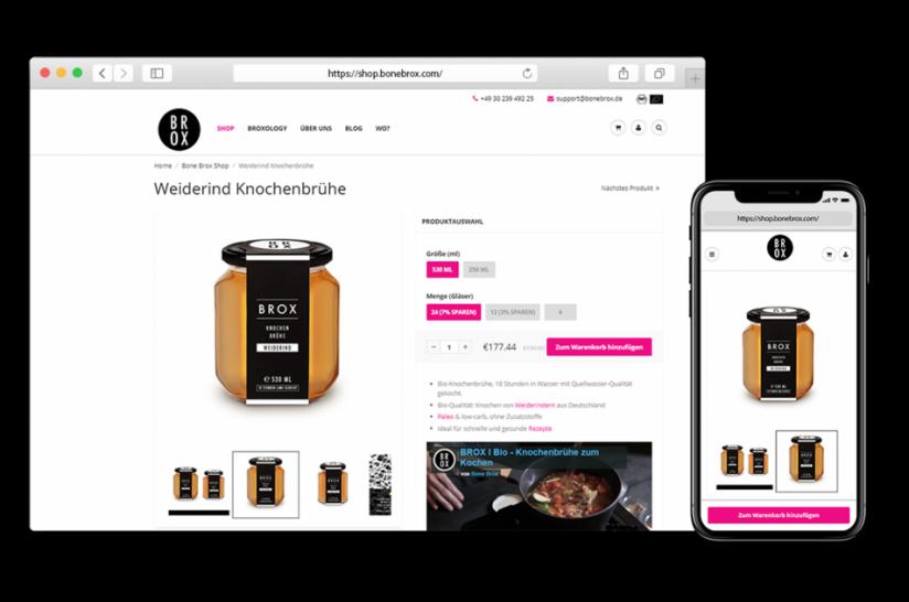 Die Produktdetailseite auf Desktop- und Mobile-Geräten mit benutzerfreundlicher CTA-Platzierung.