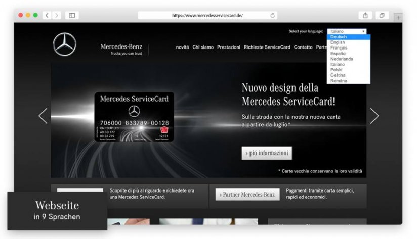 Die Mercedes ServiceCard-Website in 9 Sprachen
