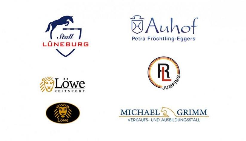 Logos für unsere Pferdesport Kunden: Stall Lüneburg, Auhof, Reitsport Löwe, Riad Landoulsi und Michael Grimm.