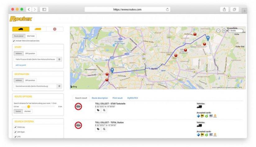 Der Routenplaner mit Such-, Eingabe- und Filterfunktionen sowie detaillierter Ausgabe der Route