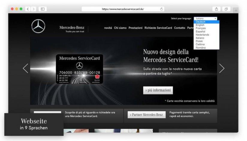 Die Mercedes ServiceCard-Website in 9 Sprachen