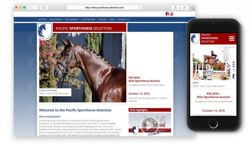Responsives Internetportal der jährlichen Sportpferde-Auktion in Vacaville, California.