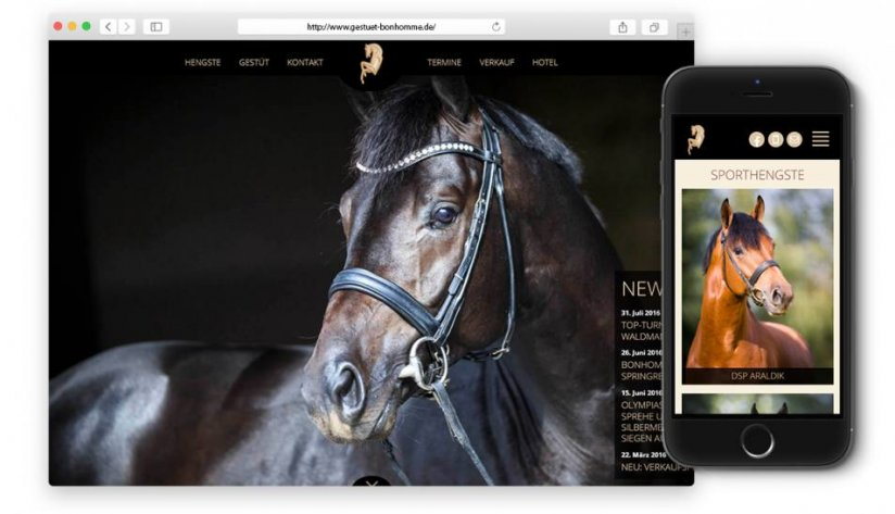 Responsive Website des Gestüt Bonhomme