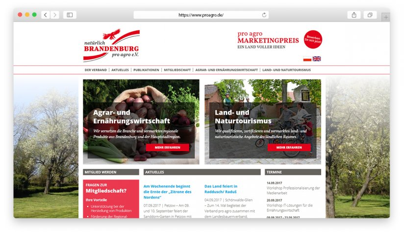 Die pro agro Verbandsseite auf Deutsch.