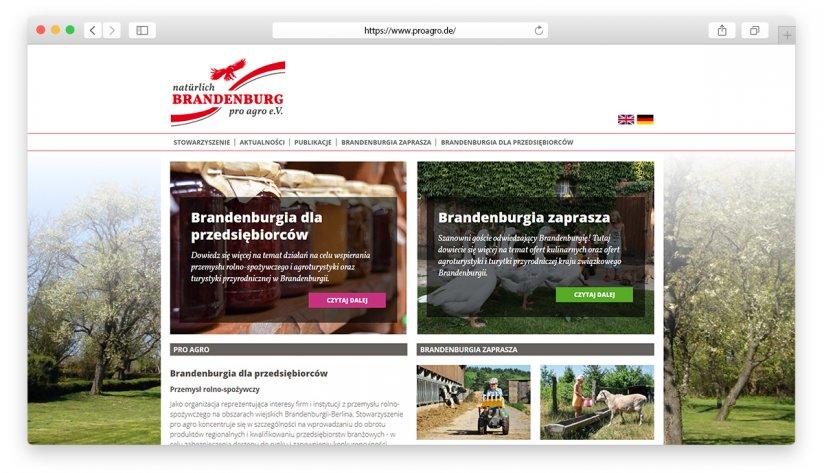 Die pro agro Verbandsseite auf Polnisch.