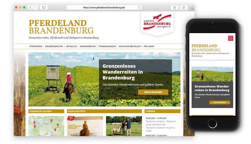 Pferdeland Brandenburg Portal optimiert für Smartphones